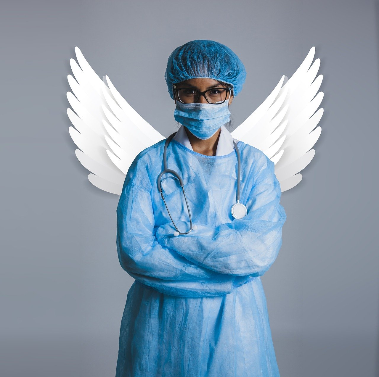 health worker with wings