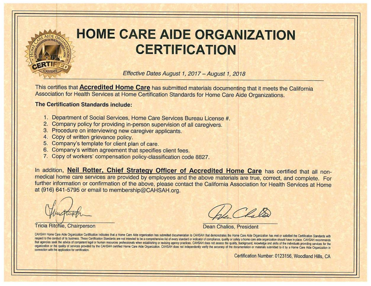 CAHSAH Home Care Organization Certification Document