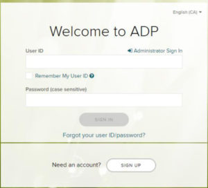 image of the ADP signup form in English