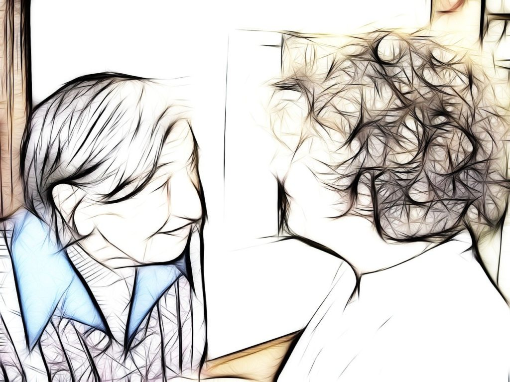 drawing of two women in conversation